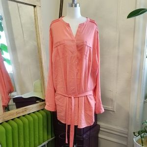 Calvin Klein Coral Tunic with Belt: 3x